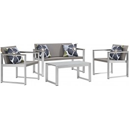 Triumph Silver Gray Aluminum Outdoor Patio Sectional with Pillow Set