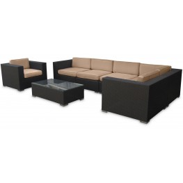 Corona Outdoor Rattan 7 Piece Set in Espresso with Mocha Cushions