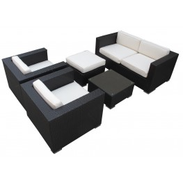 Malibu Outdoor Rattan 5 Piece Set In Espresso with White Cushions