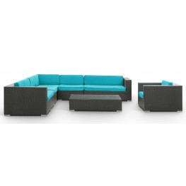 Palm Springs Espresso Outdoor Rattan 7 Pc Set with Turquoise Cushions