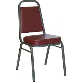 5978 Hercules Trapezoidal Back Stacking Banquet Chair with Burgundy Vinyl and Silver Vein Frame Finish