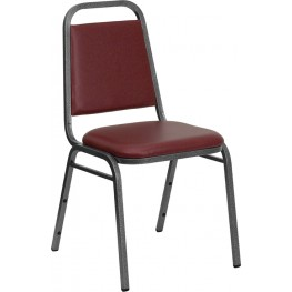 5981 Hercules Trapezoidal Back Stacking Banquet Chair with Burgundy Vinyl and Silver Vein Frame Finish