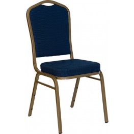 5983 Hercules Crown Back Stacking Banquet Chair with Navy Blue Patterned Fabric and Gold Frame Finish