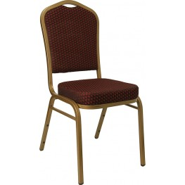 Hercules Crown Back Stacking Banquet Chair with Burgundy Patterned Fabric and Gold Frame Finish
