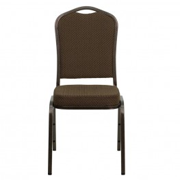 Hercules Crown Back Stacking Banquet Chair with Brown Patterned Fabric and Copper Vein Frame Finish