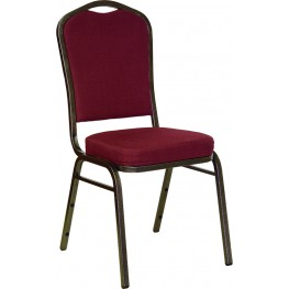 Hercules Crown Back Stacking Banquet Chair with Burgundy Fabric and Gold Vein Frame Finish