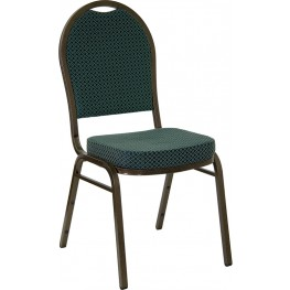 Hercules Dome Back Stacking Banquet Chair with Green Patterned Fabric and Gold Vein Frame Finish