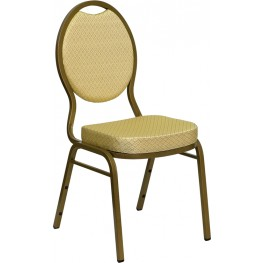 Hercules Teardrop Back Stacking Banquet Chair with Beige Patterned Fabric and Gold Frame Finish