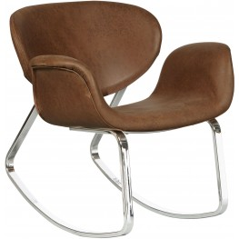 Brown Upholstered Metal Back Rocking Chair