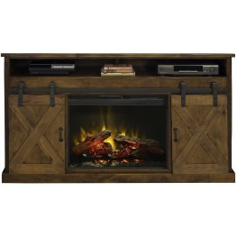 "Farmhouse 66"" Brown Fireplace Console"