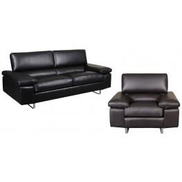 Fiona Black Leather Living Room Set