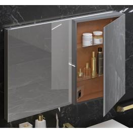 """Fractal 35"""" Metal Platino Mirror Cabinet"""