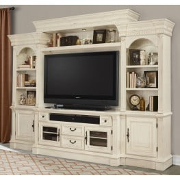 Fremont Antique Burnished White 4Pc Entertainment Wall ...