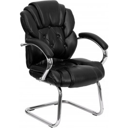 Black Transitional Padded Arms Sled Base Side Chair (Min Order Qty Required)