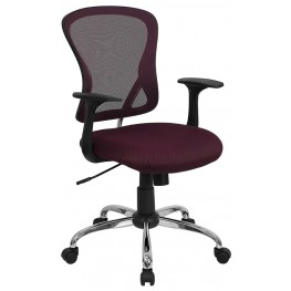 Mid-Back Burgundy Office Chair with Chrome Finished Base