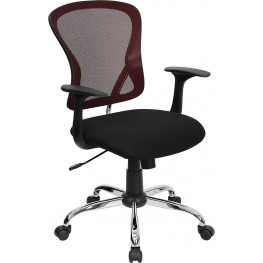 Mid-Back Burgundy Office Chair with Black Fabric Seat and Chrome Finished Base