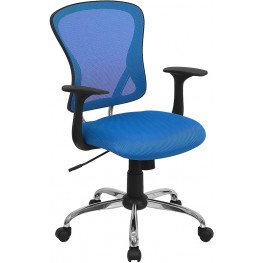 Mid-Back Blue Office Chair with Chrome Finished Base