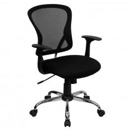 Mid-Back Black Office Chair with Chrome Finished Base