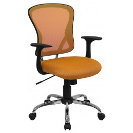 Mid-Back Orange Office Chair with Chrome Finished Base