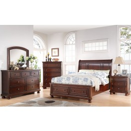 Soft Brown Cherry Storage Bedroom Set