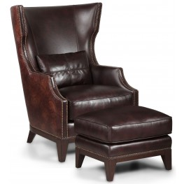 Forbes Antique Espresso Accent Chair & Ottoman