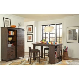 Pine Hill Rustic Pine Counter Height Desk Home Office Set