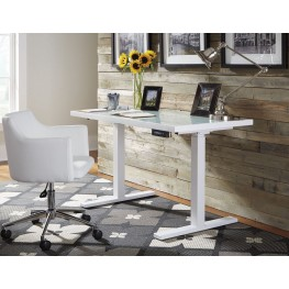 Baraga White Adjustable Height Home Office Set