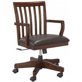 Wassner Dark Brown Home Office Swivel Desk Chair