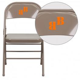 31999 Personalized HERCULES Series Triple Braced Beige Metal Folding Chair