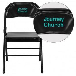 32001 Personalized HERCULES Series Triple Braced Black Metal Folding Chair