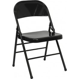 Hercules Triple Braced & Quad Hinged Black Metal Folding Chair