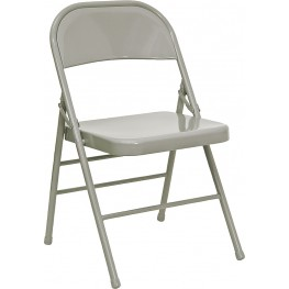 Hercules Triple Braced & Quad Hinged Gray Metal Folding Chair