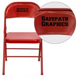 32005 Personalized HERCULES Series Triple Braced Red Metal Folding Chair