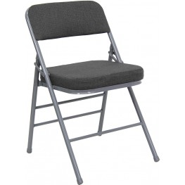 Hercules Triple Braced & Quad Hinged Gray Fabric Metal Folding Chair