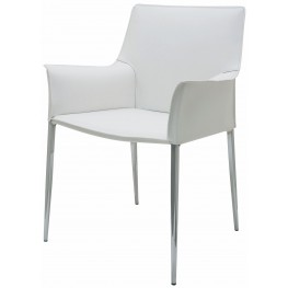 Colter White Leather Dining Arm Chair