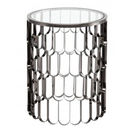 Jewel Polished Black Stainless Side Table
