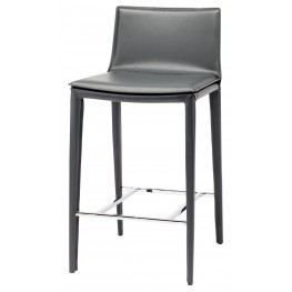 Palma Grey Leather Counter Stool