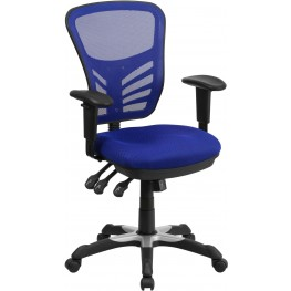 Mid-Back Blue Swivel Task Chair with Triple Paddle Control