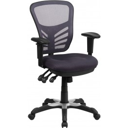 Mid-Back Dark Gray Swivel Task Chair with Triple Paddle Control