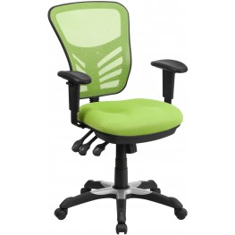 Mid-Back Green Swivel Task Chair with Triple Paddle Control