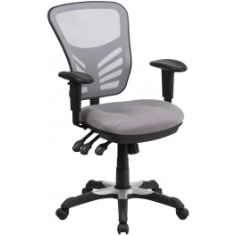 Mid-Back Gray Swivel Task Chair with Triple Paddle Control