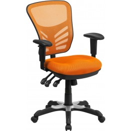 Mid-Back Orange Swivel Task Chair with Triple Paddle Control