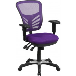 Mid-Back Purple Swivel Task Chair with Triple Paddle Control