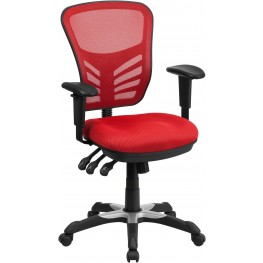 Mid-Back Red Swivel Task Chair with Triple Paddle Control