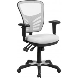Mid-Back White Swivel Task Chair with Triple Paddle Control