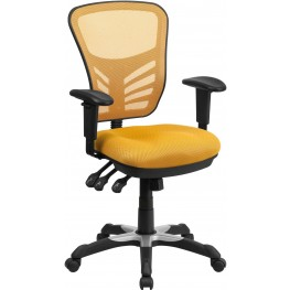 Mid-Back Yellow-Orange Swivel Task Chair with Triple Paddle Control