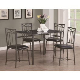 1036 Grey Marble / Charcoal Metal 5Pcs Dining Set