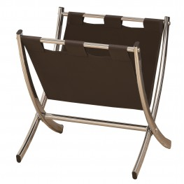 2035 Dark Brown / Chrome Metal Magazine Rack