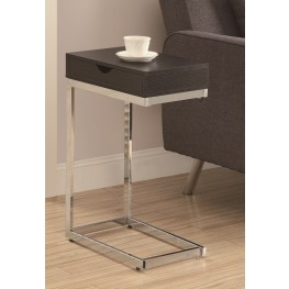 3019 Cappuccino / Chrome Metal Accent Table