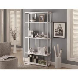 "3029 Glossy White / Chrome Metal 72"" Bookcase"